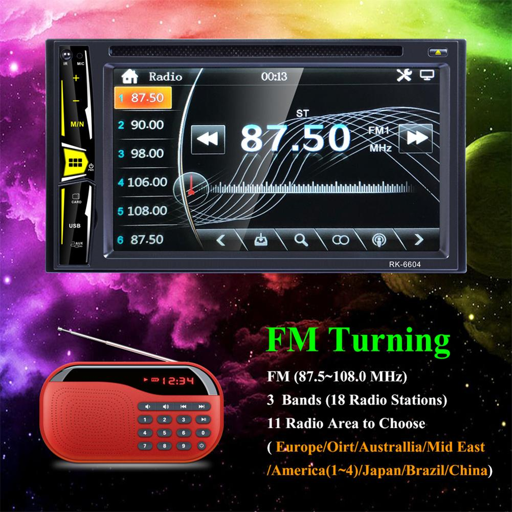 Universal DC12V 6.2'' 2 DIN Car DVD CD Player Autoradio Stereo 1080P Touch Screen Radio MP5 Bluetooth TF USB FM Player