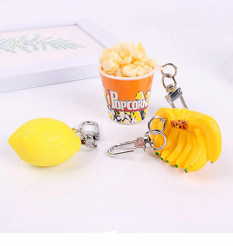 Funny popcorn Banana Lemon Key Chain for women Novelty DIY Bags Keyring Creative Food Keychain accessories