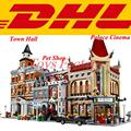 3 Sets LEPIN 15003 Town Hall LEPIN 15006 Palace Cinema LEPIN 15009 Pet Shop Model Building Block Set Bricks Kits Toy