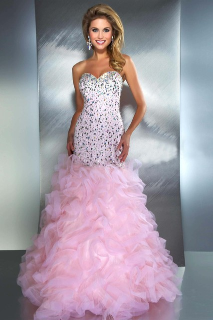 Elegant Royal Blue Pink Sparkly Prom Dresses Evening Gowns Fishtail ...