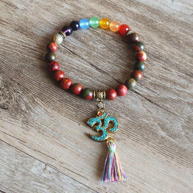 7 Chakra OM Tassels Bracelet Tibetan Buddha Yoga Healing Prayer Mala Charm Beaded Bracelet Jewelry for Women Men