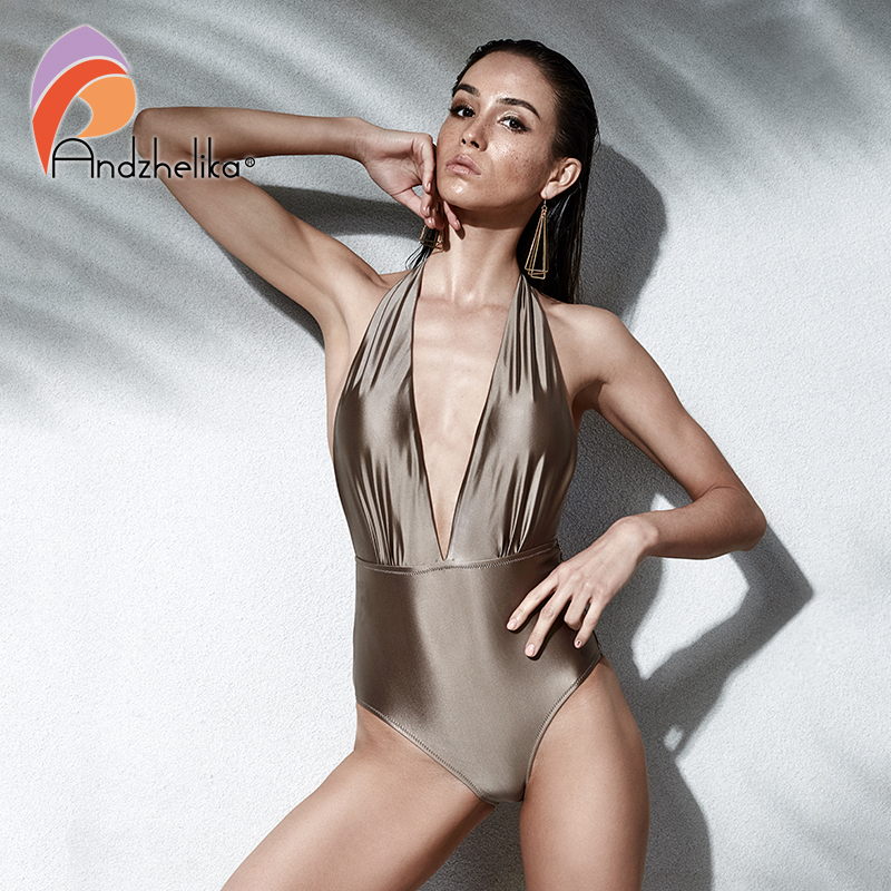 Andzhelika Women New One Piece Sexy Halter Swimsuits Brazilian Vintage Swimwear Summer Bodysuit Two ways to wear Bathing Suit vintage halter striped one piece swimwear for women