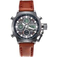 2016 Del Reloj Del Deporte Militar Hombres LCD Digital de Cuarzo Relojes Relogio masculino Reloj Con Correa de Cuero Hecha A Mano Al Aire Libre