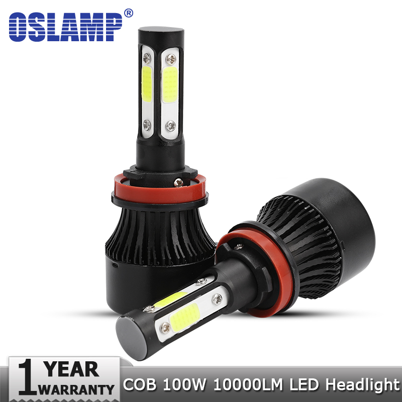 Oslamp New 4 Side Lumens COB 100W 10000lm H4 Hi lo H7 H11 9005 9006 Car LED Headlight Bulbs Auto Led Headlamp Fog Light 12v 24v 2pcs 9006 27 led 5050 smd car auto xenon white head fog headlight light bulbs