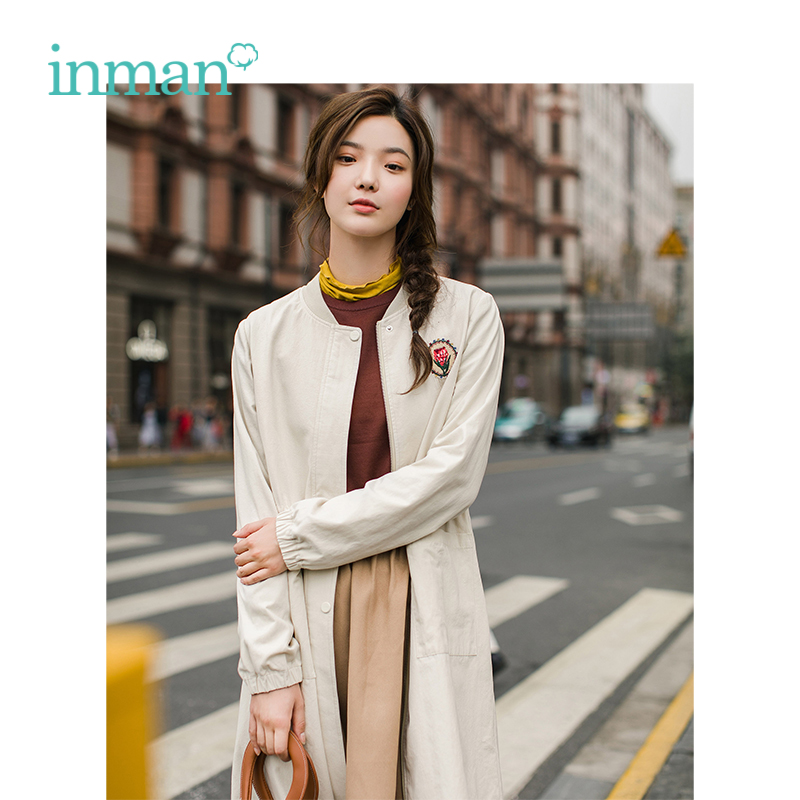 INMAN 2018 Autumn New Arrival Female Cotton O neck Collar Embroidery Waist Double Threshold Long Windbreaker