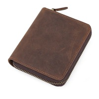 TIDING men women genuine leather purse coin credit card holder vintage wallet pocket 90394
