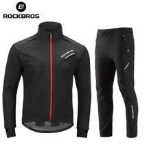 Sportswear Cycling-Sets Jersey Thermal-Fleece Winter Windproof ROCKBROS Jacket Reflective