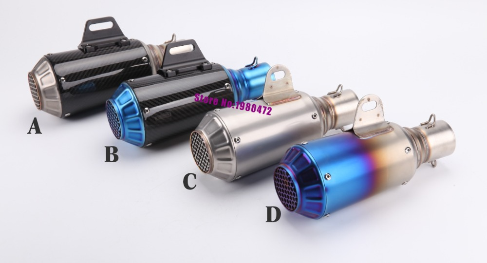 Universal Inlet 51mm Motorcycle Akrapovic Exhausts Pipe Muffler Scooter Carbon firber exhaust Muffler Escape with Accessories