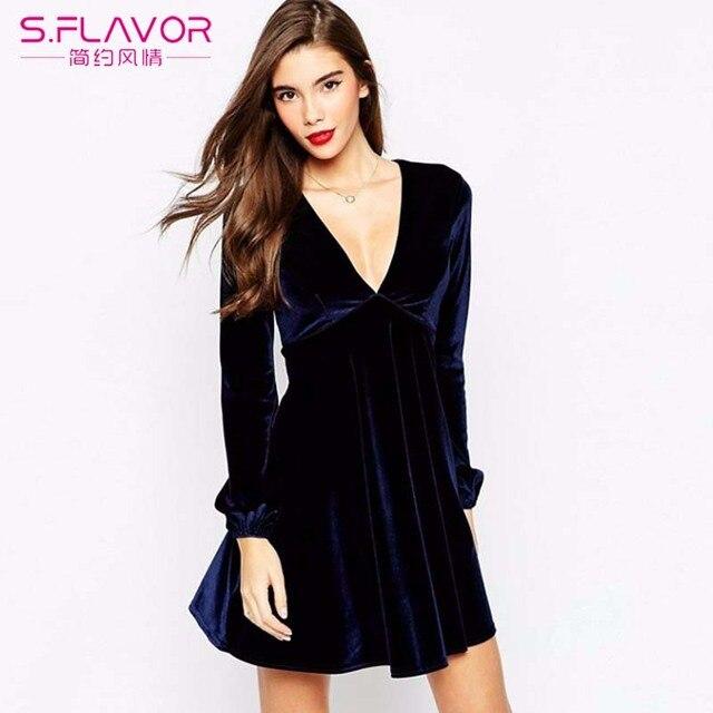 S Flavor 2018 Fashion Women Autumn Winter Velvet Dress Soft Casual Dresses Long Sleeve