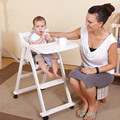 Multifunctional Solid Wood Baby Dining Chair Portable Folding Baby Children High Chair Wheels Table Seat Baby Feeding Chair C01