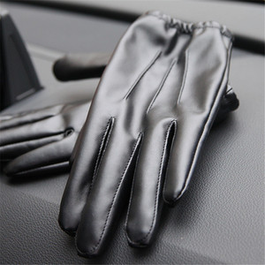 Long Keeper Fashion Black PU Leather Gloves Male Thin Style Driving Leather Men Gloves Non-Slip Full Fingers Palm Touchscreen