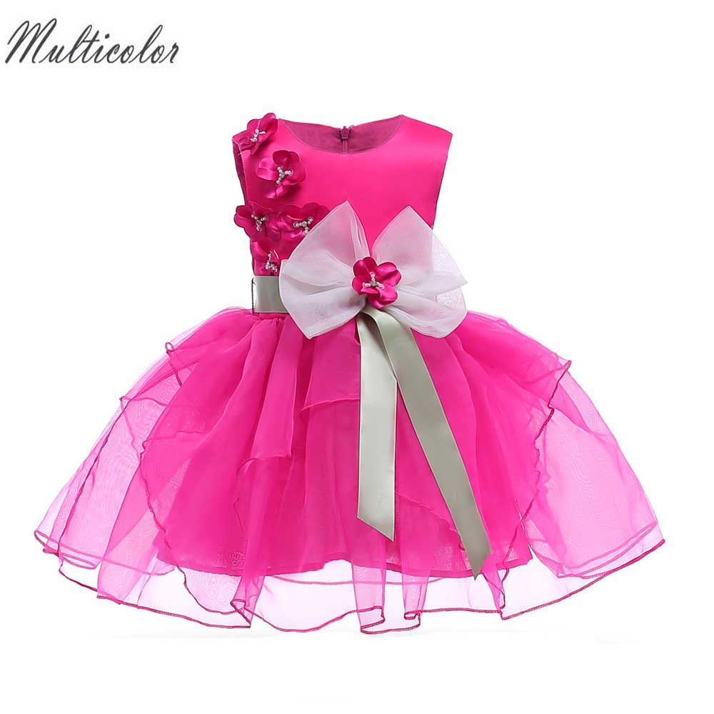 Multicolor New Summer Dress For Girls Bow Flower Beading Princess Dress for Wedding Kids Clothes Baby Birthday Party tutu Dress