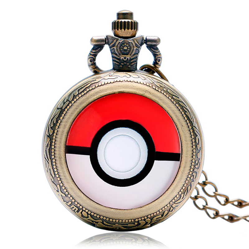 Bronze Cute Pikachu Design Quartz Pocket Watch For Children With Necklace Chain Fob Full Hunter Pendant Clock Gift Kids
