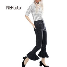 RichLuLu Bottom Frills Women Pants Brief Slim High Waist Pencil Jeans Black Sexy Shaping Style Female Washed Casual Skinny Jeans