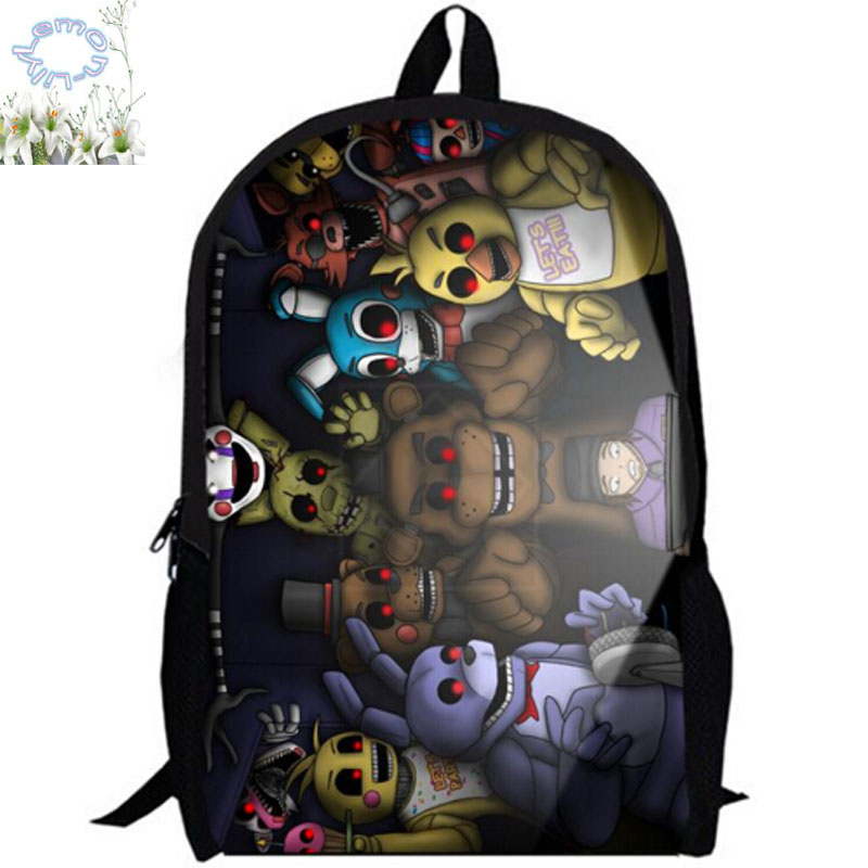 Hot Sale 16Inch Five Nights At Freddy Backpack Customized Free Shipping Children Boy Girl Game School Bag Mochila Teenage A034