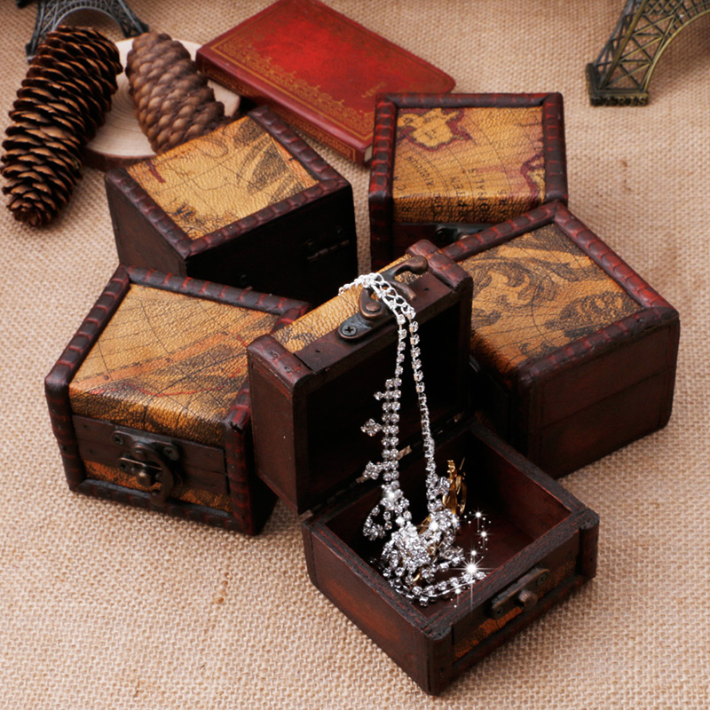 Hot sale Mini Wooden Storage Box Case Jewellery Cufflinks Chest Small Gift Vintage Map