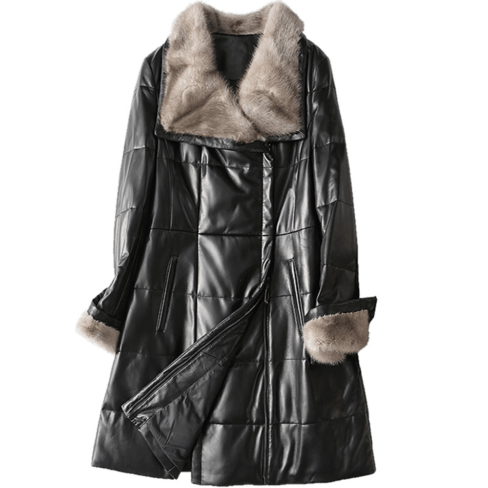 Ladies's Actual Sheepskin Coat Real Leather-based Parka Mink Fur Collar Park With Nature Fur Feminine Clothes 2019 New Outerwear