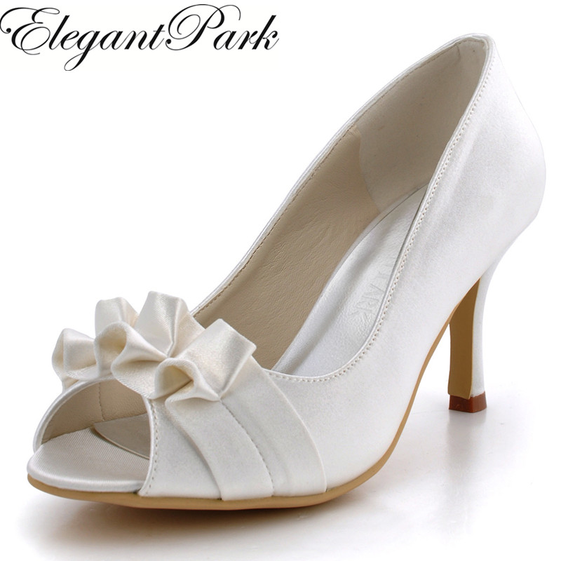 цена на High Heel Woman Shoes for Bride Ivory EP2108 Peep Toe Pleated Satin Bride Bridesmaids Wedding Bridal Prom Dress Pumps White Pink