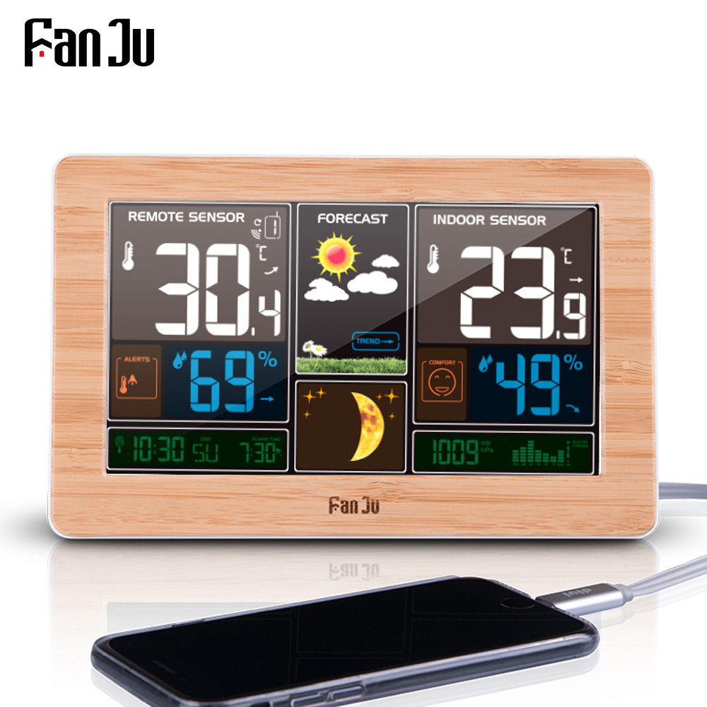 FanJu FJ3378 Numérique D'alarme Horloge Mur de La Station Météo Intérieure Température Extérieure Humidité Montre Lune Prévisions Phase USB Chargeur