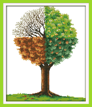 The four Seasons tree, counted printed on fabric DMC 14CT 11CT Cross Stitch kits,embroidery needlework Sets, Home Decor