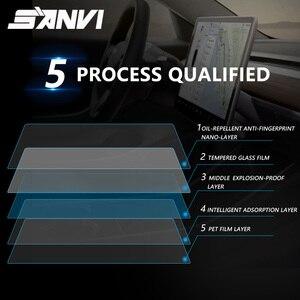 Image 2 - Sanvi 15 자동차 스티커 테슬라 model3 탐색 터치 디스플레이 화면에 대한 명확한 강화 유리 화면 보호기
