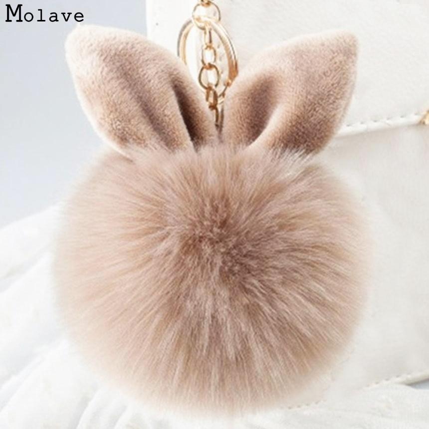 Adroit 1PC Cute Mini Ear Faux Rabbit Fur Plush Ball Ring Pendant Chain For Bag 20S61226 drop shipping