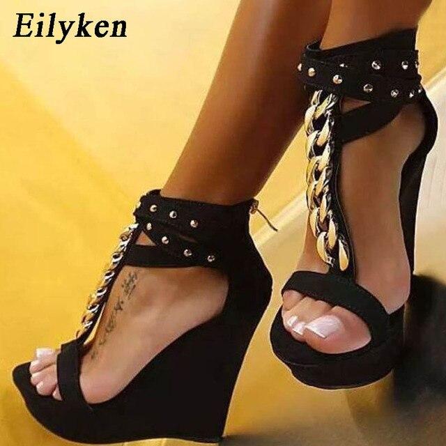 Eilyken 2020 جديد المصارع الصنادل النساء عالية الكعب صنادل مماشي للموضة سلسلة منصة أسافين أحذية للنساء