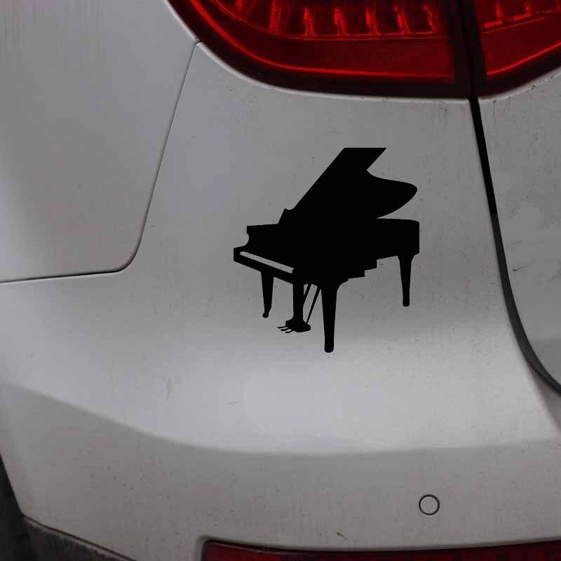 YJZT 13.8CM*15.3CM Music Piano Happy Window Vinyl Decal Beautiful Car Sticker Black/Silver C27-0042