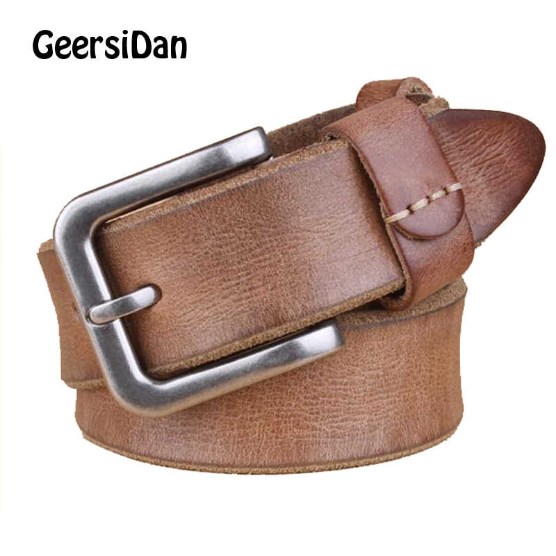 2018 Luxury belt men's belt pin buckle man's genuine leather strap for jean high quality wide brown color fashion free shippping