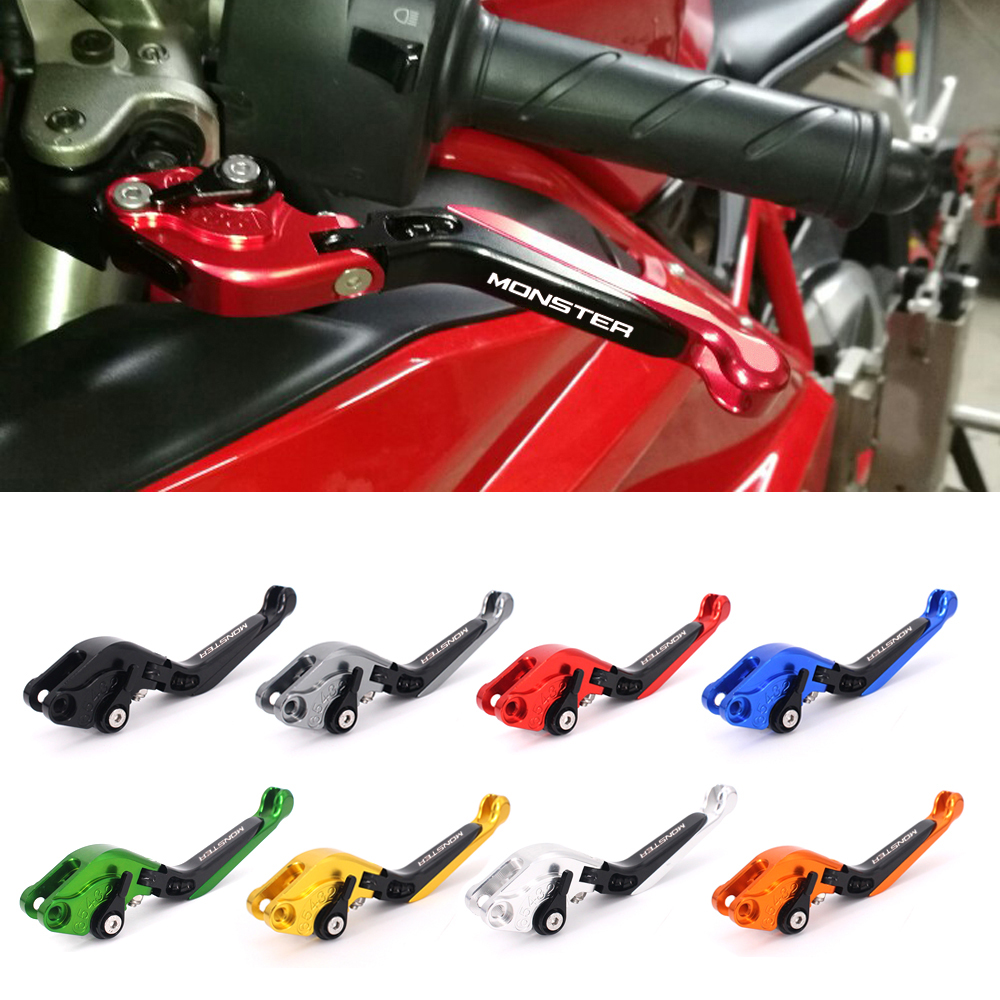 CNC Motorcycle Brakes Clutch Levers For DUCATI MONSTER 1200/S/R 2014-2017 S4RS 2006-2008 1100S/ABS M1100 /M1100S EVO 2009-2013 for moto guzzi breva 850 1100 1200 griso breva 1100 norge 1200 gt8v motorcycle long and short brake clutch levers cnc shortly