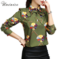 Printed Character Bow Women Blouse Shirt Plus Size Green/White Shirt Women Blouse Notched Brand Women Clothing Tops Blusas