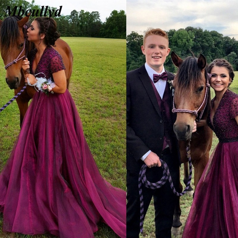 Burgundy Long   Bridesmaid     Dresses   With Short Sleeves Beading Sequined African Women Maid Of Honor   Dress   Party Gowns Hot Sale