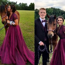 Burgundy Long Bridesmaid Dresses With Short Sleeves Beading