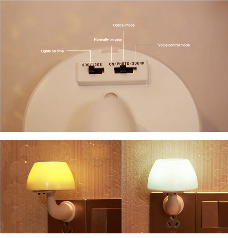 Acoustic optical a night light Creative energy conservation induction lamp  LED plug baby bedroom berth lamp switch cute led lamp-in Desk Lamps from