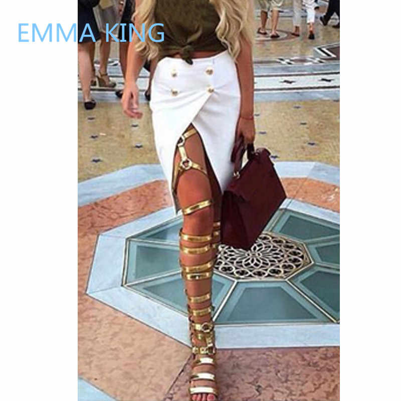 1d8eaefa43 2019 Runway Women Over The Knee Gladiator Sandals Boots Gold Open Toe  Ladies Summer Flat Shoes