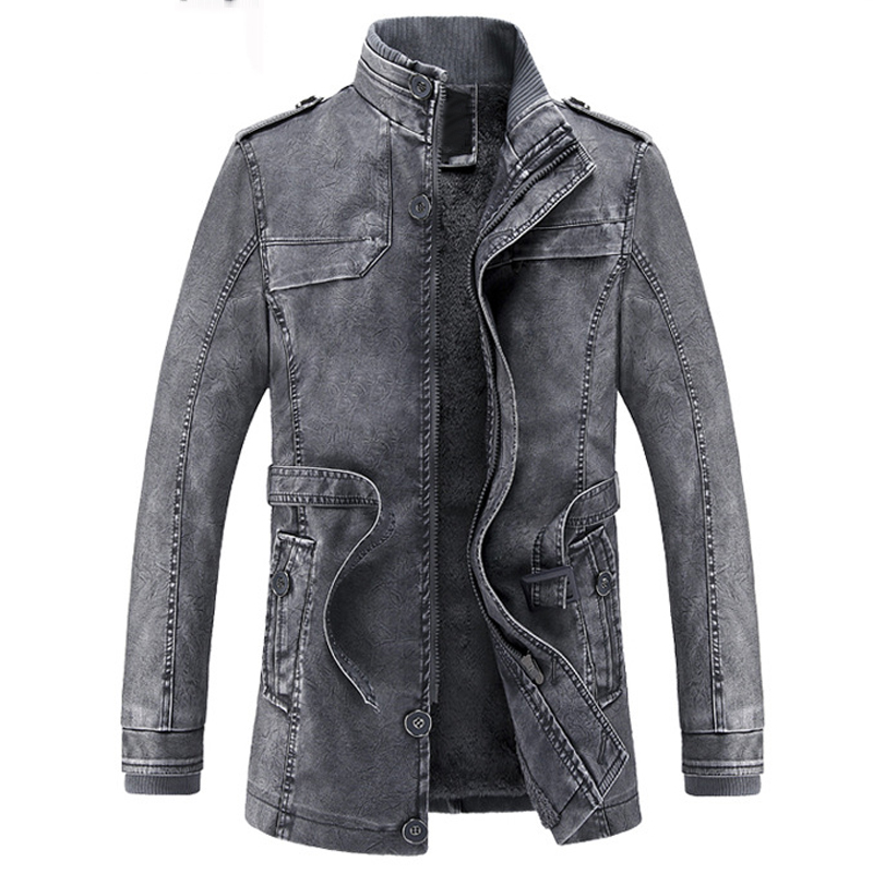 European and American Style Mens Smart Casual Business Winter Faux Leather Jacket Mens Thick Warm PU Trench Coats Imported C1202
