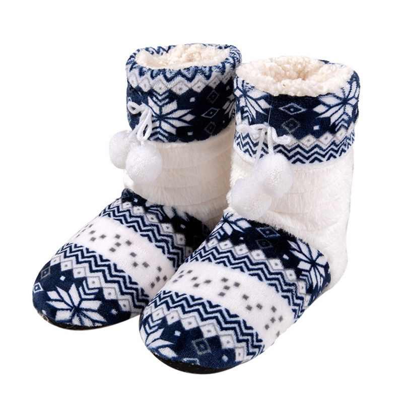 HEFLASHOR Sıcak baskılar Çizmeler Kadın Kalınlaşmak Yapay Kürk pamuklu ayakkabılar Kış kadın uzun saç topu Ev botas mujer