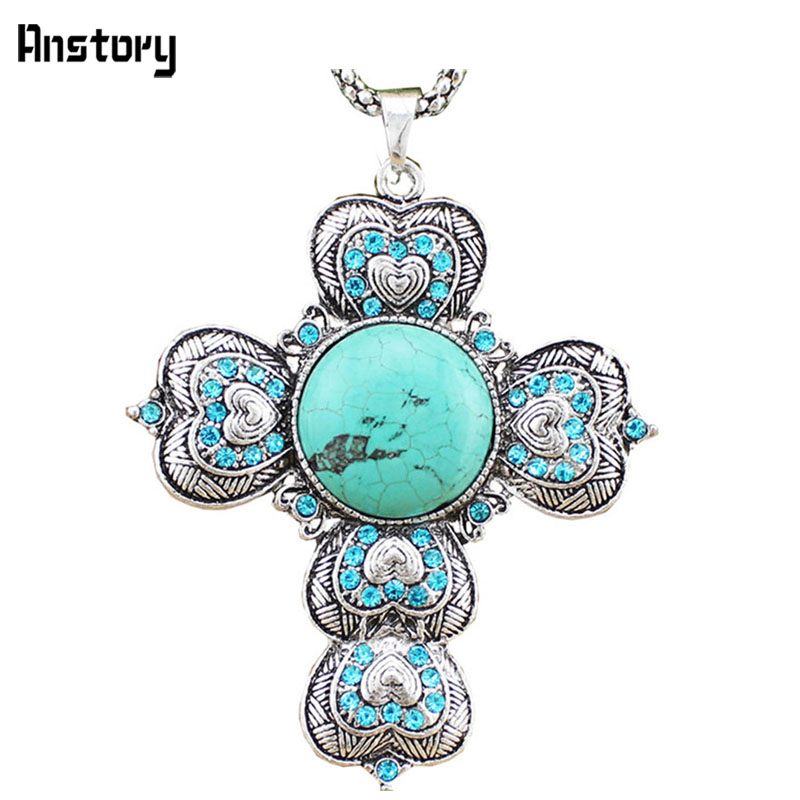 Cupid Heart Cross Pendant Natural Stone Necklace For Women ...