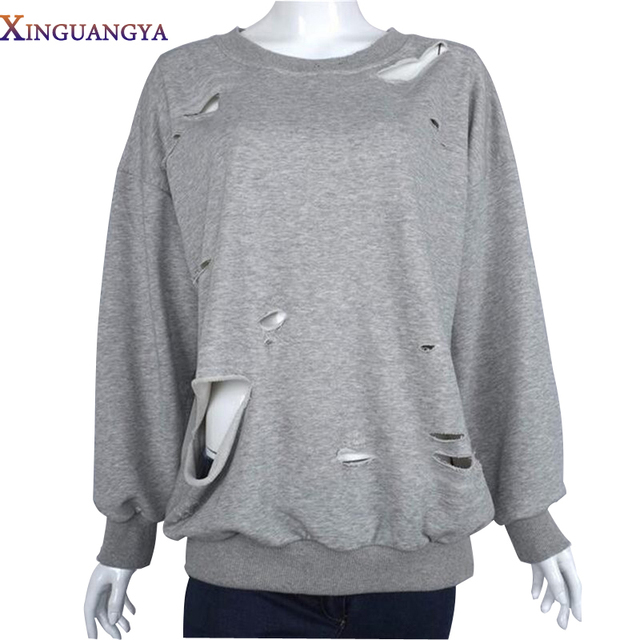 Hoodie Autumn Womens Pullover Cotton Loose Lonsleeve With Holes Causal American Apparel Sweatshirt sudaderas mujer 2017