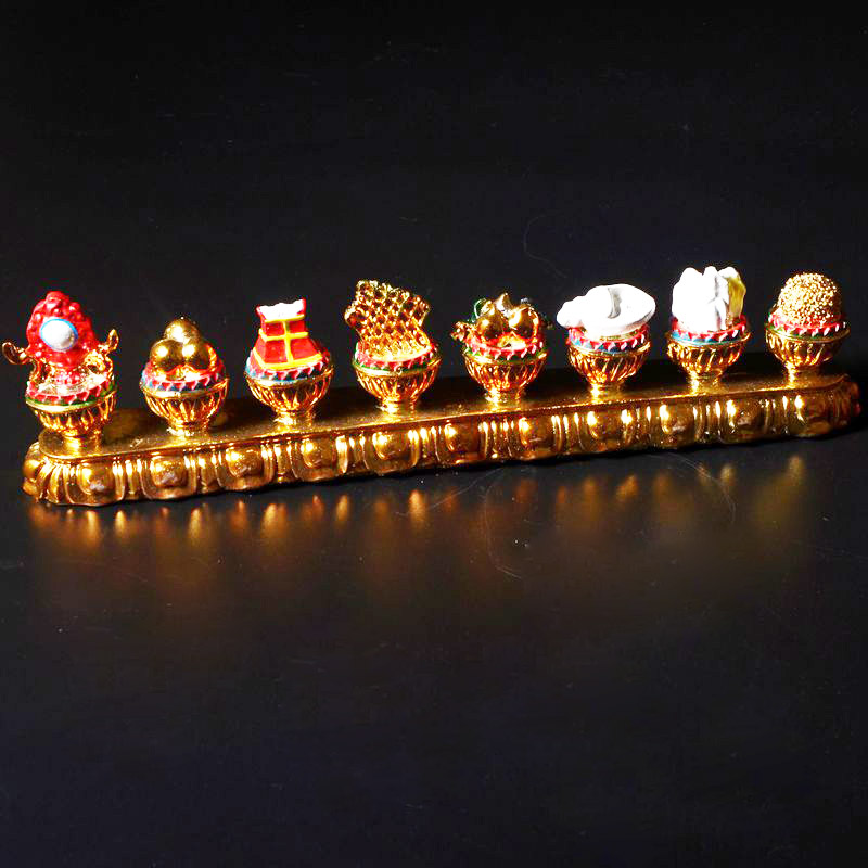 Peculiar Lucky Eight Treasure Tibetan Tantric Buddhist Ritual Instruments Amazing Gilded Painted Home Auspicious Decoration