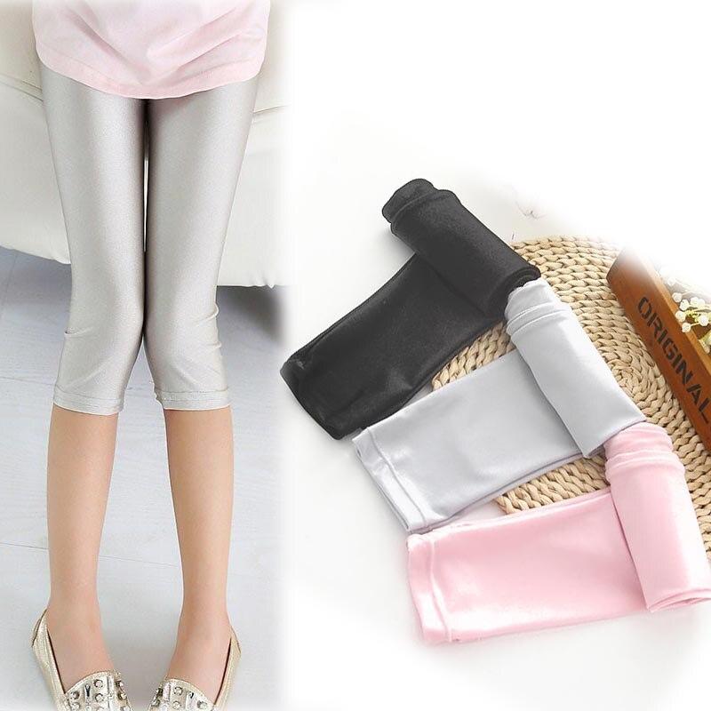 Summer Girls Leggings Children Cropped   Capris     Pants   Panties Pencil   Pants   Leggins for Girls Kids leginsy Thin Luster Trousers