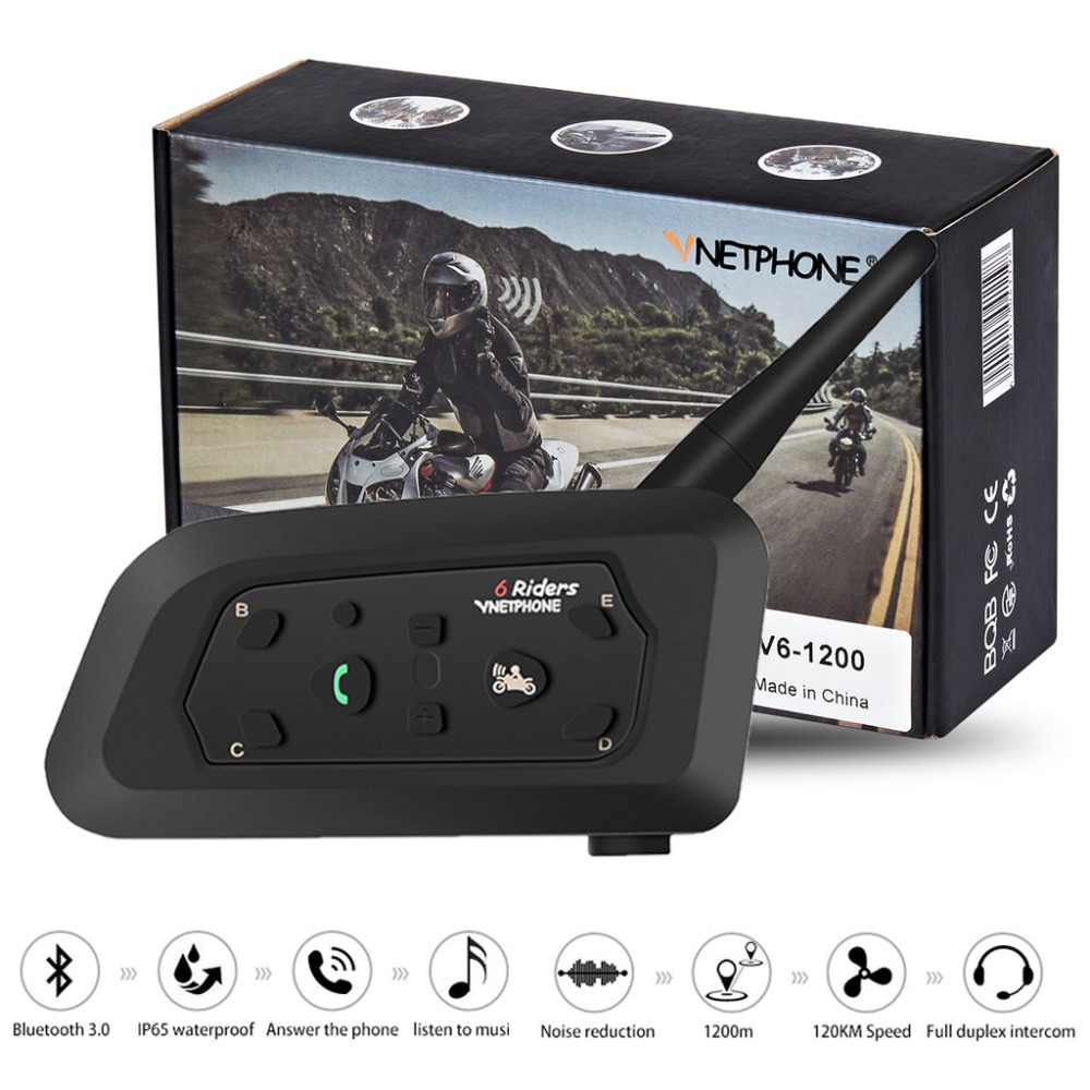 1PC V6 1200M 6 Riders Motorcycle Helmet Intercom  Interphone Headsets Intercomunicador Bluetooth Headset Motorcycle Comunicador