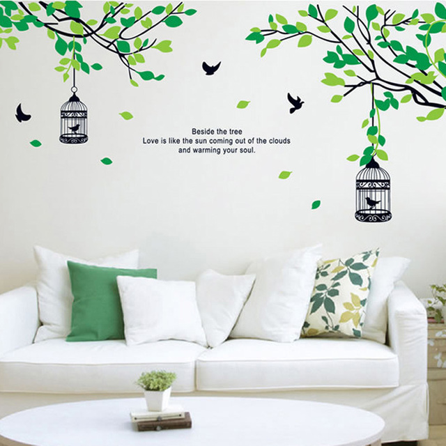 Trees Branches Birdcage Birds Wall Decals Living Room Bedroom Home Decals  Wall Stickers Murals Wedding Decoration