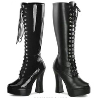 Fashion Black Platform Heels Shoes Cosplay Women Boots Knee Shoes Woman Winter Boots Knee High Boots
