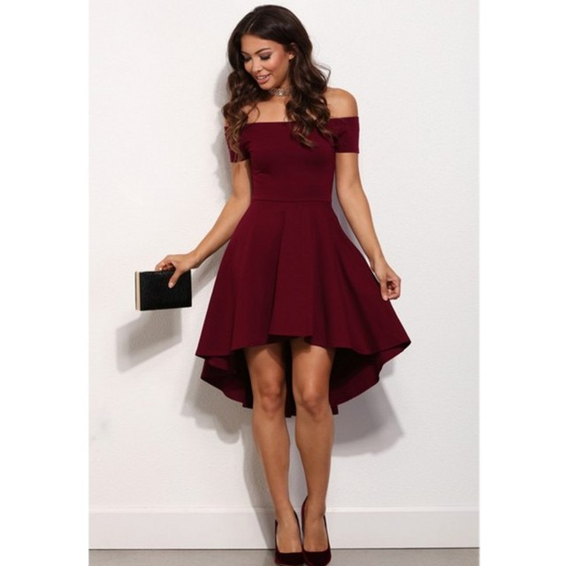 Burgundy Sexy Cocktail Dresses 2016 Off the Shoulder Short Front ...