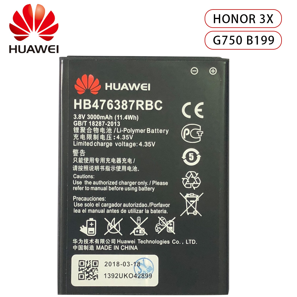 Hua Wei Original Replacement Phone Battery HB476387RBC For Huawei Honor 3X G750 B199 3000mAh