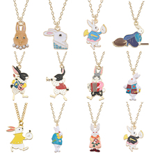 New Alice in Wonderland Cute Bunny Necklace Colored Rhinestone Animal Metal Pendant Girl Glamour Jewelry Ms. Gift
