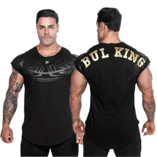 Newest Summer Brand Men Tees Curved Hem Bodybuilding T Shirt  Casual Print Gyms Stringers Clothing Fitness Male T Shirt 3 Color