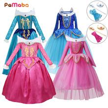 PaMaBa 20 style dzieci karnawał śpiąca królewna kostium Kid Fancy Aurora księżniczka na imprezę Cosplay sukienka na dziewczynę Xmas Ball suknia tanie tanio MUABABY Mesh Woal Satin Poliester Koronki COTTON CN (pochodzenie) Połowy łydki Asymetryczne Dziewczyny Puff rękawem Pełna
