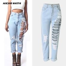Hole Denim Trousers Women 2018 Loose Straight Pants Capris Fashion Female Loose Distress Ripped Jeans